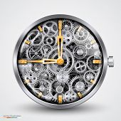 stock photo of mechanical drawing  - Silver and gold Clock interior of gears - JPG