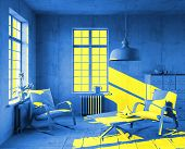 yellow sunlight in art-style interior. 3d concept