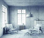 gray style interior. 3d concept