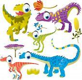 set of cute comic animals: dinosaurs