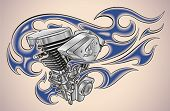 Old-school styled tattoo of a flaming motorcycle engine. Editable vector illustration.