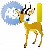 animal abc: I is for cute little comic cartoon illustration of Impala