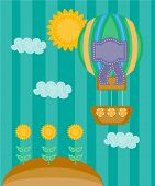 Colorful summer background, card with striped balloon and sunflowers