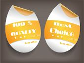 To isolated labels with text 100 percent Quality, Best Choice