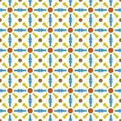 Blue And Yellow Retro Bone And Circle Pattern On Pastel Color