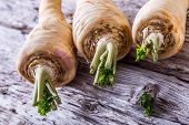 picture of parsnips  - Fresh parsnip on old wooden table - JPG