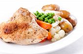 Farm Fresh Vegetables With Roasted Chicken And Fingerling Potatoes