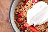 Healthy Dessert Of Strawberries, Greek Yogurt And Home Made Granola