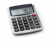 Calculator with the word yield on the display