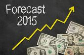 Text on blackboard with money - Forecast 2015