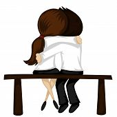 stock photo of sitting a bench  - Lovely couple sit on a bench  - JPG
