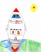 launch space rocket with dogs. child drawing.