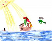 dog on sailboat. child drawing.