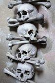 Decoration made of human bones and skulls in the Sedlec Ossuary near Kutna Hora, Czech Republic.