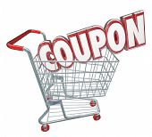 Coupon word in 3d letters in a store shopping card to illustrate buying merchandise in a deal or money saving offer