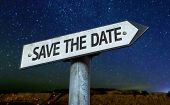 Save the Date sign with a beautiful night background