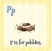pic of letter p  - Flashcard letter P is for pebbles - JPG