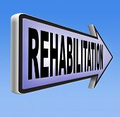 foto of sports injury  - rehabilitation rehab for drugs alcohol addiction or sport and accident injury physical or mental therapy road sign  - JPG