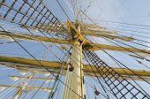 image of mast  - Ropes on the mast of a sailboat Kruzenshtern - JPG