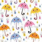 stock photo of raindrops  - cute umbrellas raindrops seamless vector rain pattern - JPG