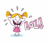 stock photo of laugh out loud  - LOL laughing out loud little cute girl - JPG
