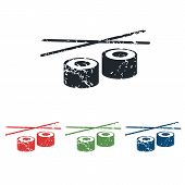 picture of chopsticks  - Colored grunge icon set with image of sushi rolls and chopsticks - JPG