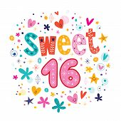 image of sweet sixteen  - Sweet Sixteen text decorative retro typography lettering - JPG