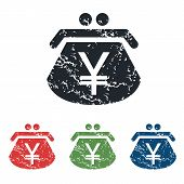 image of yen  - Colored grunge icon set with purse with yen symbol - JPG