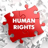 picture of human rights  - Human Rights on Red Puzzle on White Background - JPG