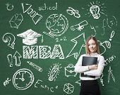 image of degree  - A lady is pondering over the business degree - JPG