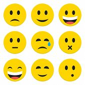 picture of sad  - Character Emotions Happy and Sad Vector Icons Set Isolated over White - JPG