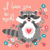 stock photo of raccoon  - Card to the birthday or other holiday with cute raccoon and a declaration of love - JPG