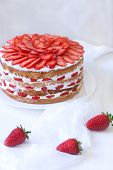 pic of strawberry  - Gourmet traditional holiday strawberry sponge cake weet dessert food served with sweet strawberries on white kitchen table. Natural light and rustic style ** Note: Soft Focus at 100%, best at smaller sizes - JPG