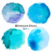 foto of purple white  - Watercolor Blue and Purple Vector Colorful Circles Set - JPG