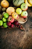 picture of exotic_food  - Fruit variety on wood - JPG