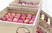 stock photo of wooden crate  - Red delicious apples arranged in wooden crates over white background - JPG