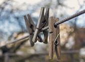 pic of clotheslines  - Three Old clothespins on clothesline close - JPG