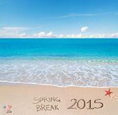 picture of spring break  - Spring break 2015 written on the sand - JPG