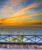 picture of balustrade  - metal balustrade by the shore - JPG