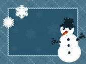 Quilted Winter postcard with a snowman