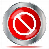 stock photo of no entry  - A large red no entry symbol button over a white background - JPG