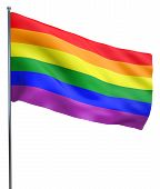 stock photo of gay flag  - Gay pride flag waving and isolated on white background - JPG