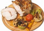 foto of roasted pork  - Roasted pork roulade with potatoes - JPG
