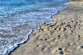 stock photo of shoreline  - Maria Pia beach shoreline on a clear day - JPG