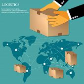 stock photo of logistics  - vector illustration logistics concept in flat design - JPG