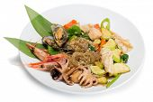 image of korean  - Fried seafood with vegetables and rice noodles - JPG