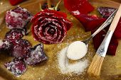 stock photo of white sugar  - Making candied rose flower petals with egg whites and sugar - JPG