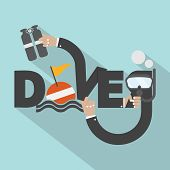 stock photo of oxygen  - Snorkel And Oxygen Tank In Hand With Diver Typography Design Vector Illustration - JPG