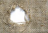 image of sackcloth  - Sackcloth with a patched hole - JPG