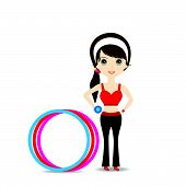 pic of hulahoop  - Woman exercising in sport outfit holding dumbbell with hulahoop on white background - JPG